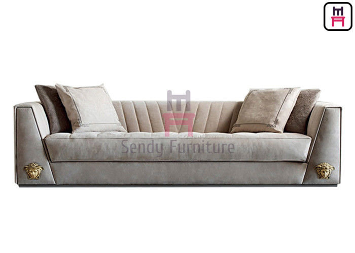 3 Seater Restaurant Sofa Chair Upholstered Fabric / Leather Arm With LOGO Hardware